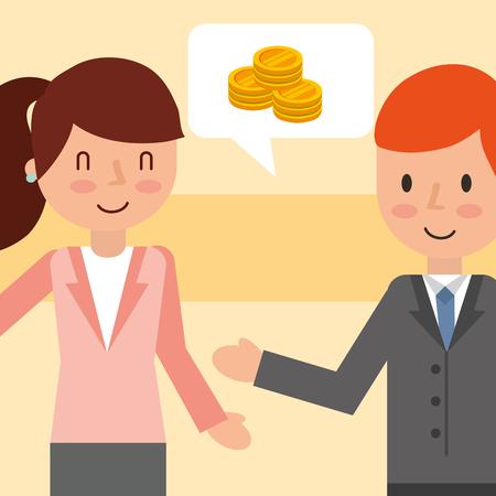 businessman and businesswoman talking money coins vector illustration Illustration