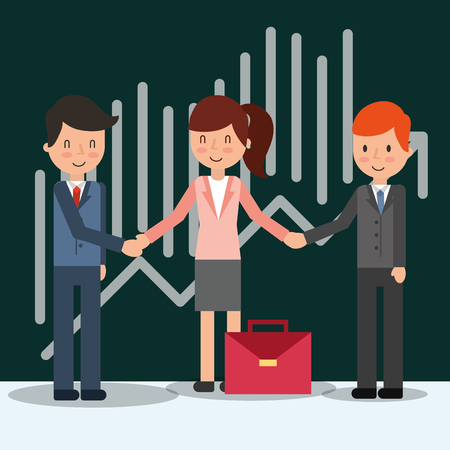 business people characters teamwork coworkers vector illustration