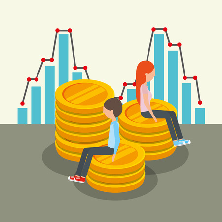business people characters sitting in stacked coins currency vector illustration