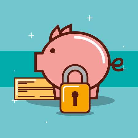 piggy bank security bank check padlock vector illustration
