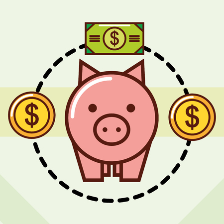 piggy bank banknotes and coins cash vector illustration