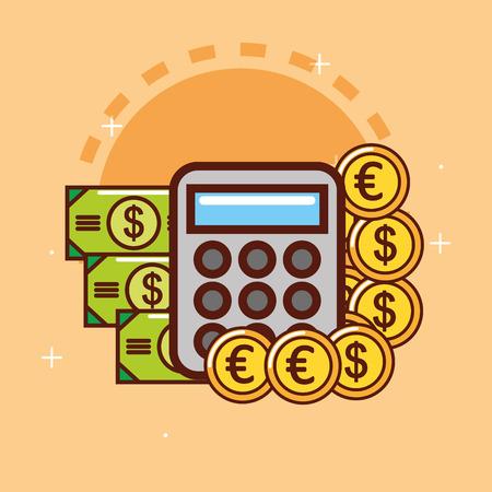 calculator banknote euro dollar coins money vector illustration Stock Illustratie