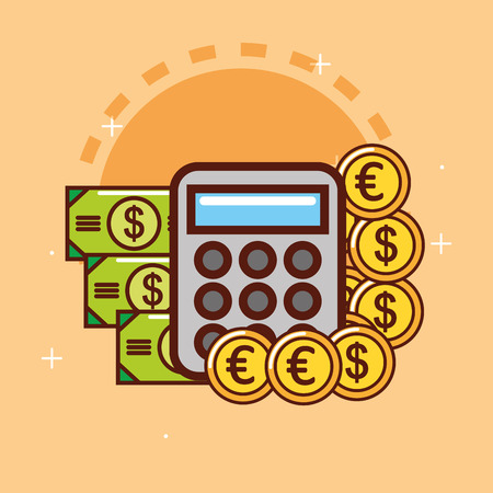 calculator banknote euro dollar coins money vector illustration Illustration