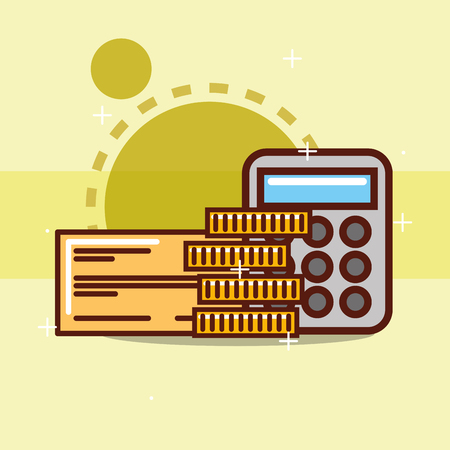 bank check pile coins and calculator vector illustration