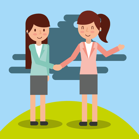 two businesswoman in suit elegant handshake vector illustration Çizim