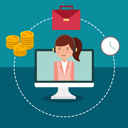businesswoman on screen pc money suitcase and clock vector illustration