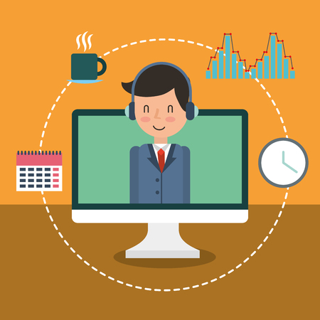 businessman adviser on screen computer calendar clock diagram vector illustration Иллюстрация