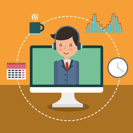businessman adviser on screen computer calendar clock diagram vector illustration Illustration