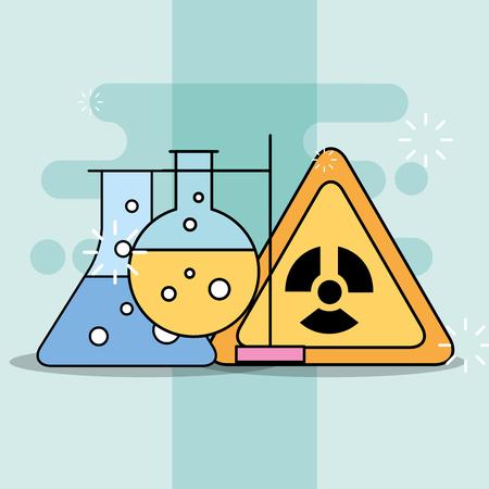 Laboratory test tubes and danger toxic alert sign vector illustration