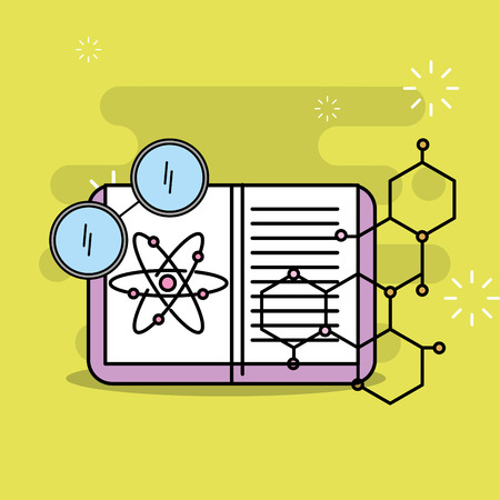 science book atom eyeglasses and atom vector illustration