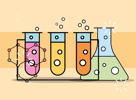 chemical experiment test tube in rack laboratory vector illustration