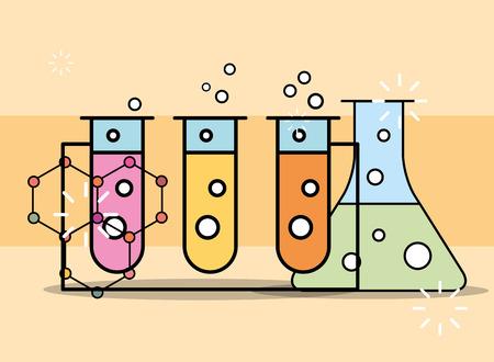 chemical experiment test tube in rack laboratory vector illustration Stockfoto - 101044583