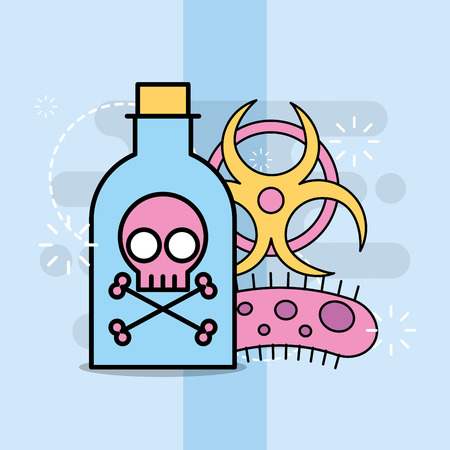 Science laboratory research poison bottle bacterium toxic vector illustration Illustration