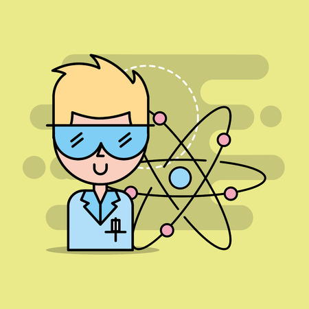 professional scientist with eyeglasses atom background vector illustration Illustration