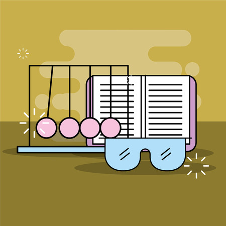 science laboratory research book and glasses vector illustration Illustration