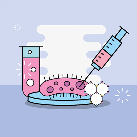science laboratory research bacteria syringe and test tube vector illustration