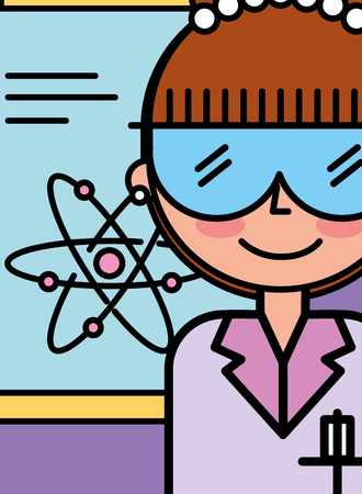 scientist woman cartoon atom medical vector illustration