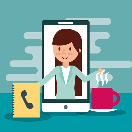 Businesswoman on display mobile contacts book and coffee cup vector illustration