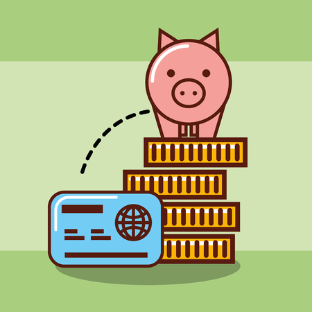 piggy bank on stacked coins money and credit card vector illustration