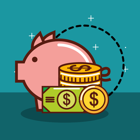 piggy bank dollar money coins banknote currency vector illustration
