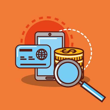 Smartphone credit card coins banknote money vector illustration Ilustração