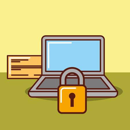 laptop bank check security money online vector illustration Illustration
