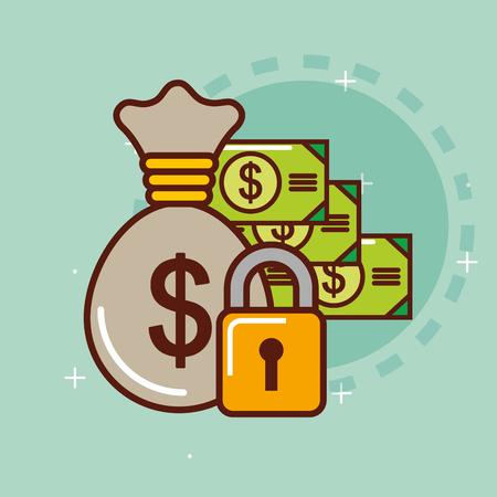 Bag money banknote dollar security vector illustration