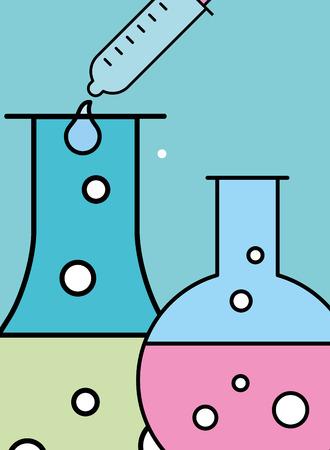 science laboratory research test tube beaker dropper vector illustration Illustration