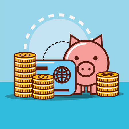 piggy bank credit card coins money cash vector illustration Stock Illustratie