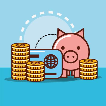 piggy bank credit card coins money cash vector illustration Illustration