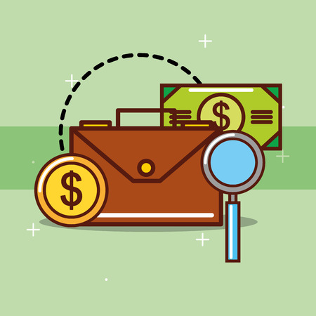 business briefcase banknote coin dollar magnifying glass vector illustration Stockfoto - 101044672