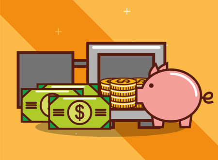 open safe box piggy bank coins and banknote money vector illustration