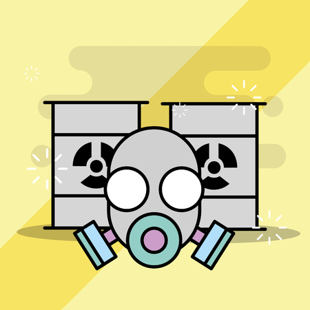Laboratory mask protection and barrels toxic products vector illustration