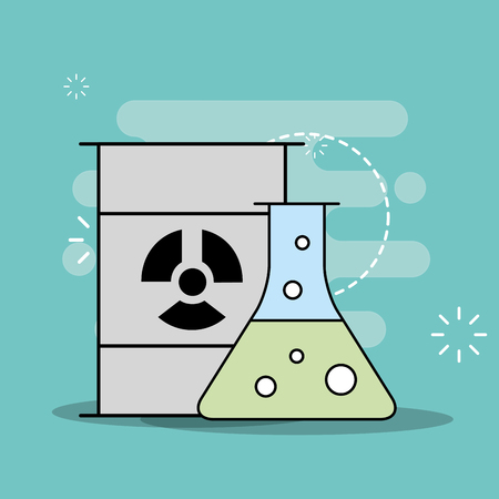 Science laboratory research toxic barrel and test tube vector illustration Illustration