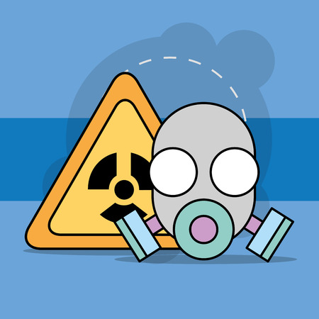 Biological hazard mask respirator and radiation sign vector illustration