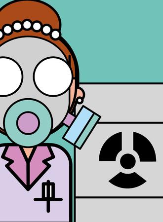 scientist woman cartoon respirator mask biological hazard barrel vector illustration