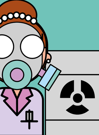 scientist woman cartoon respirator mask biological hazard barrel vector illustration
