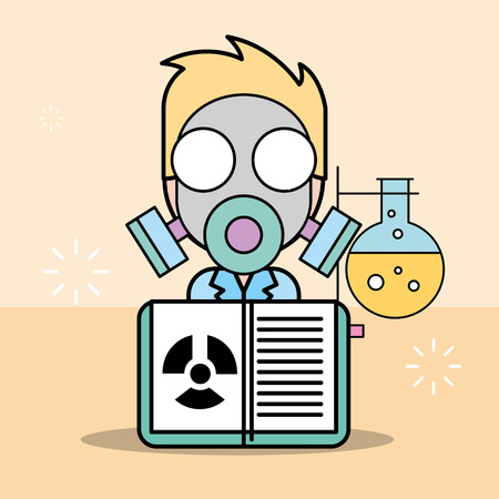 scientist man cartoon experiment radiation test tube vector illustration