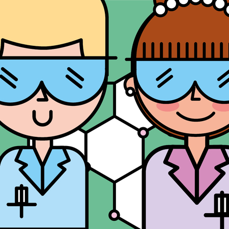 scientist man and woman cartoon characters vector illustration