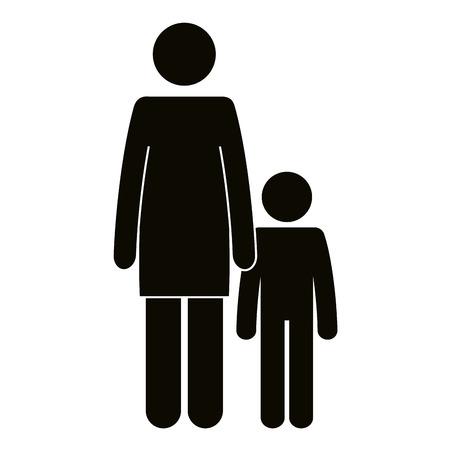 figure mother with son silhouette avatars vector illustration design Çizim