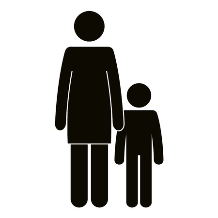 figure mother with son silhouette avatars vector illustration design Illustration