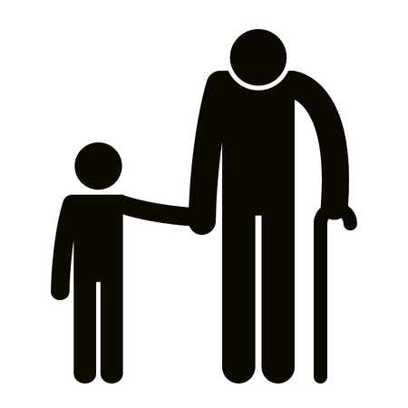 grandfather with grandson silhouettes avatars vector illustration design