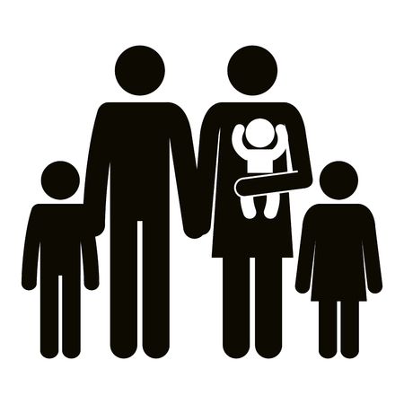 father and mother with kids silhouettes vector illustration design