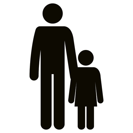 Figure father with daughter silhouette avatars vector illustration design.