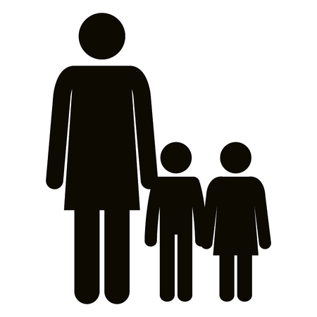 Figure mother with son and daughter silhouette avatars vector illustration.