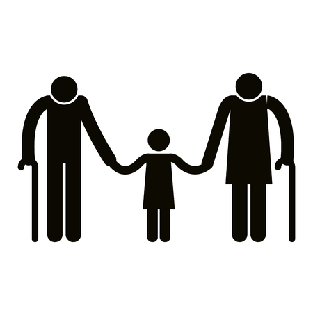 Grandparents couple with granddaughter avatars silhouettes vector illustration. Illustration
