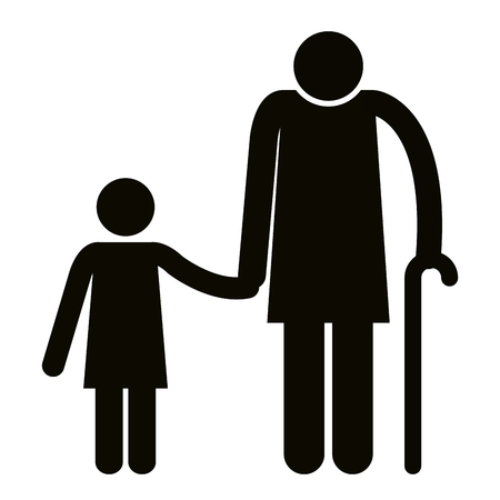 Grandmother with granddaughter silhouettes avatars vector illustration.