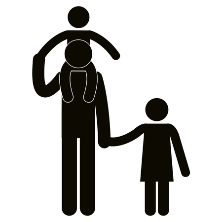 Figure father with son and daughter avatars vector illustration design.