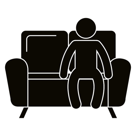 Man sitting in sofa vector illustration design.