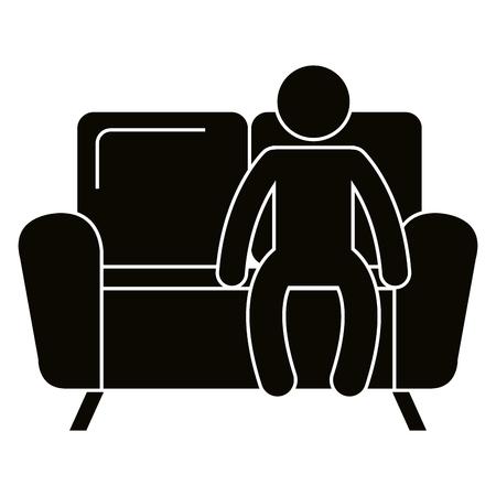 Man sitting in sofa vector illustration design.